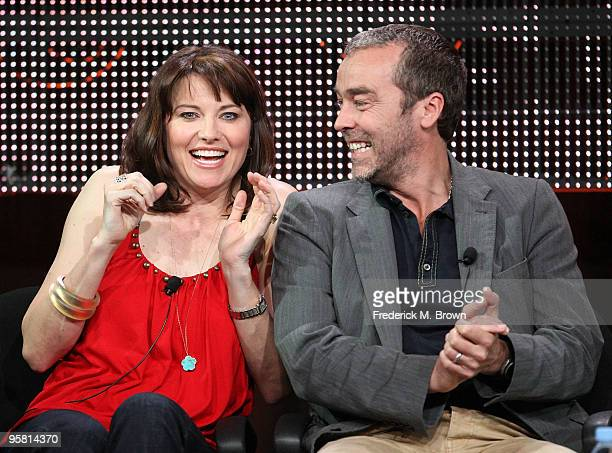 """Actress Lucy Lawless and actor John Hannah of the television show """"Spartacus: Blood and Sand"""" speak during the Starz Network portion of The 2010..."""