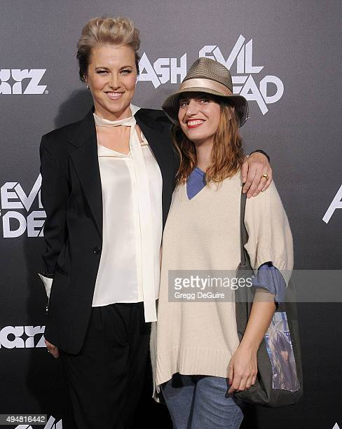 Actress Lucy Lawless and Diva Zappa arrive at the premiere of STARZ's Ash Vs Evil Dead at TCL Chinese Theatre on October 28 2015 in Hollywood...