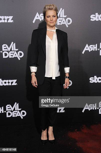 Actress Lucy Lawless arrives at the premiere of STARZ's Ash Vs Evil Dead at TCL Chinese Theatre on October 28 2015 in Hollywood California