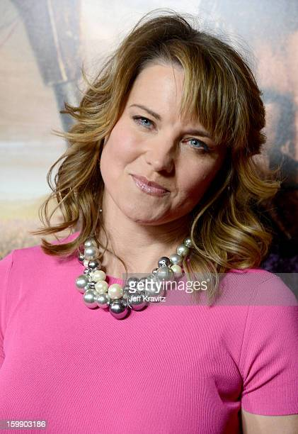 Actress Lucy Lawless attends the Spartacus War Of The Damned premiere at Regal Cinemas LA LIVE Stadium 14 on January 22 2013 in Los Angeles California