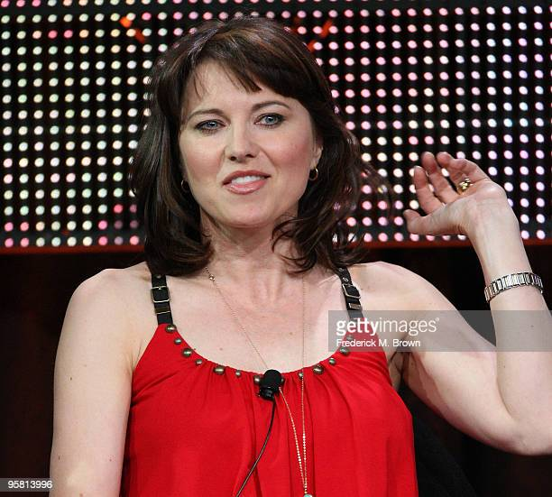 """Actress Lucy Lawless of the television show """"Spartacus: Blood and Sand"""" speaks during the Starz Network portion of The 2010 Winter TCA Press Tour at..."""