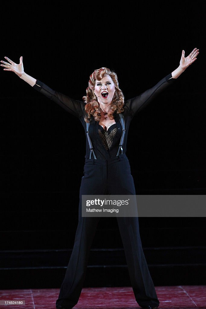 Actress Lucy Lawless performs in 'Chicago: The Musical' at the Hollywood Bowl on July 26, 2013 in Hollywood, California.