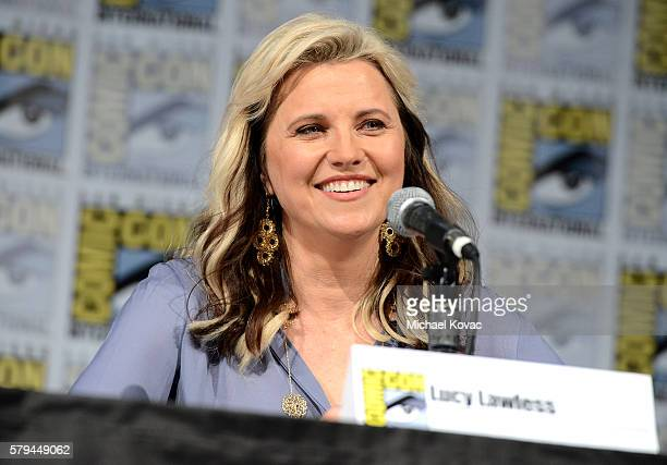 Actress Lucy Lawless speaks on stage during the 'Ash vs Evil Dead' panel during ComicCon International at the San Diego Convention Center on July 23...