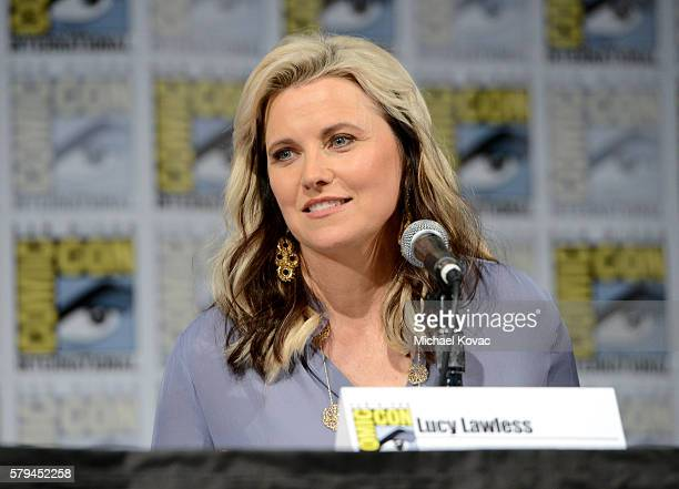 Actress Lucy Lawless speaks on stage during the Ash vs Evil Dead panel during ComicCon International at the San Diego Convention Center on July 23...