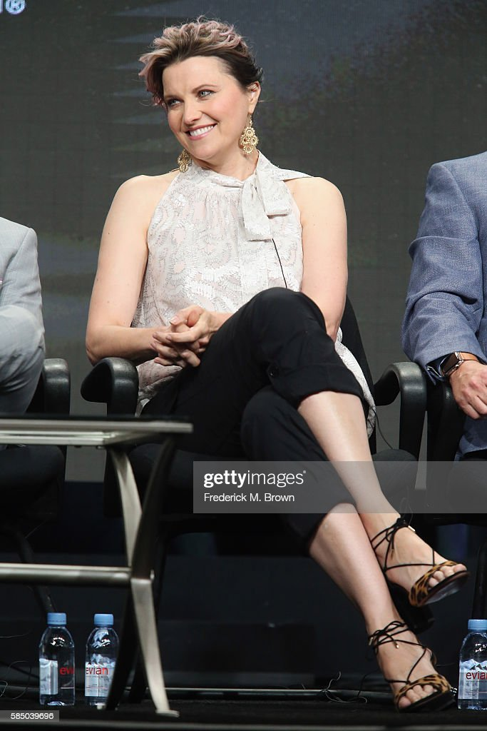 Actress Lucy Lawless speaks onstage during the 'Ash vs. Evil Dead' panel discussion at the Starz portion of the 2016 Television Critics Association Summer Tour at The Beverly Hilton Hotel on August 1, 2016 in Beverly Hills, California.