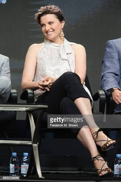 Actress Lucy Lawless speaks onstage during the 'Ash vs. Evil Dead' panel discussion at the Starz portion of the 2016 Television Critics Association...