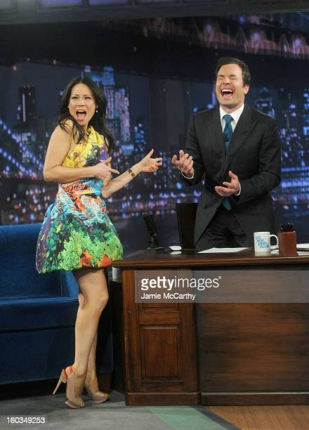 Actress Lucy Liu and host Jimmy Fallon visit 'Late Night With Jimmy Fallon' at Rockefeller Center on January 29 2013 in New York City