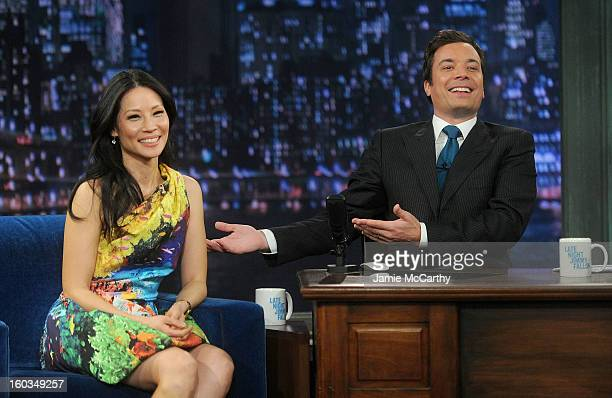 Actress Lucy Liu and host Jimmy Fallon visit Late Night With Jimmy Fallon at Rockefeller Center on January 29 2013 in New York City