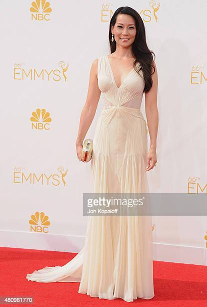Actress Lucy Liu arrives at the 66th Annual Primetime Emmy Awards at Nokia Theatre LA Live on August 25 2014 in Los Angeles California