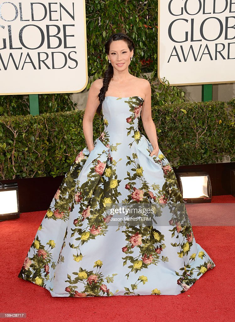 Actress Lucy Liu arrives at the 70th Annual Golden Globe Awards held at The Beverly Hilton Hotel on January 13, 2013 in Beverly Hills, California.