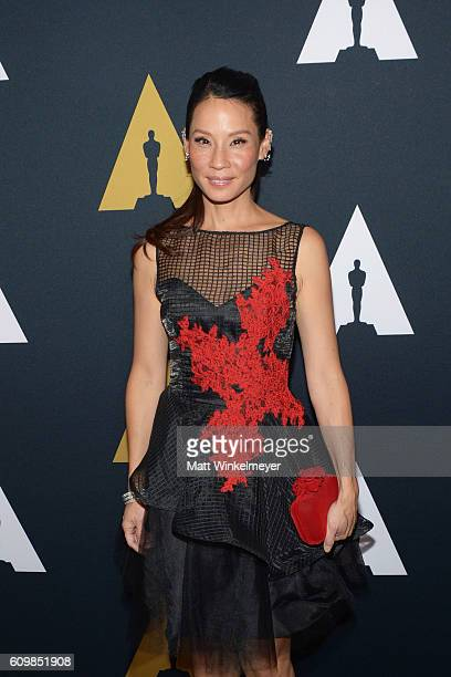 Actress Lucy Liu arrives at the Academy of Motion Picture Arts and Sciences 43rd Student Academy Awards at Samuel Goldwyn Theater on September 22...