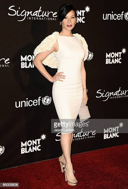 """Actress Lucy Liu attends the """"Montblanc Signature for Good"""" UNICEF charity gala at Paramount Studios on February 20, 2009 in Los Angeles, California."""