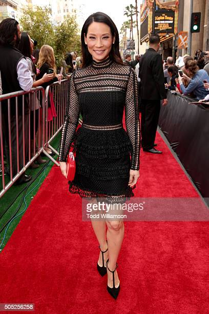 Actress Lucy Liu attends the premiere of DreamWorks Animation and Twentieth Century Fox's 'Kung Fu Panda 3' at the TCL Chinese Theatre on January 16...