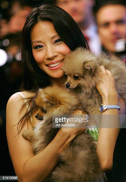 Actress Lucy Liu poses with two puppies from the pet store, 03 January 2005 at Harrods in London after opening the store for its annual January...