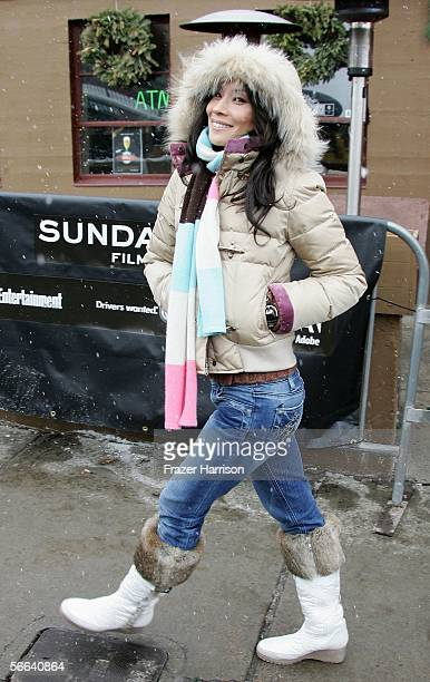 Actress Lucy Liu walks on Main Street during the 2006 Sundance Film Festival January 21, 2006 in Park City, Utah.