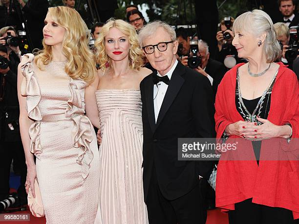 Actress Lucy Punch director Woody Allen actress Naomi Watts actress Gemma Jones and Cannes Film Festival President Gilles Jacob attend the You Will...