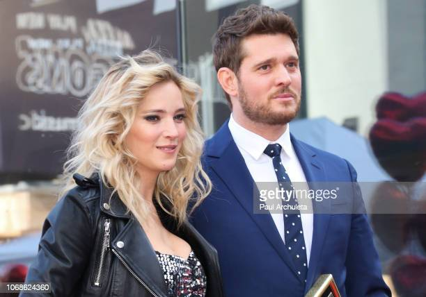 Actress Luisana Lopilato attends the ceremony to honor Singer Michael Bublé with Star on the Hollywood Walk Of Fame on November 16 2018 in Hollywood...