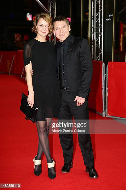 Actress Luise Heyer and actor Hanno Koffler attend the 'Tough Love' premiere during the 65th Berlinale International Film Festival at Zoo Palast on...