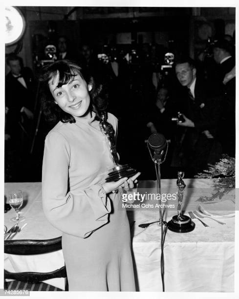 Actress Luise Rainer wins the first of two Best Actress awards at the 9th Academy Awards at the Biltmore Hotel on March 3 1937 in Los Angeles...