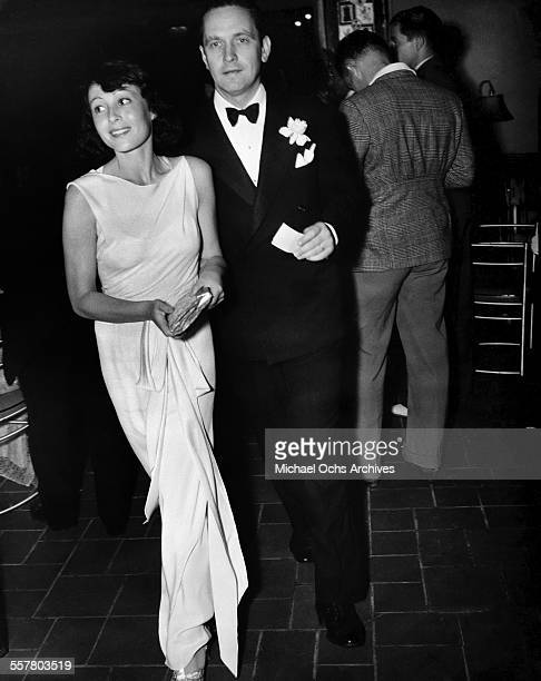 Actress Luise Rainer with actor Fredric March attend an event in Los Angeles California