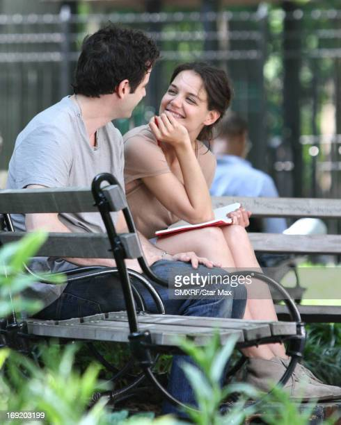 Actress Luke Kirby and Katie Holmes on the set of Mania Days as seen on May 21 2013 in Los Angeles California