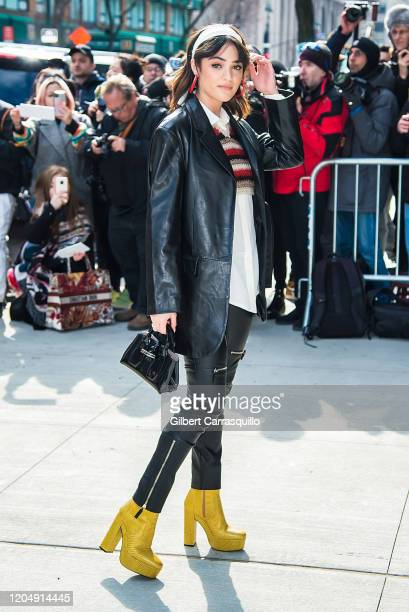 Actress Luna Blaise is seen arriving to the Longchamp Fall/Winter 2020 Runway Show at Hudson Commons on February 08 2020 in New York City