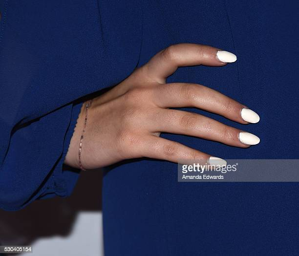 Actress Luna Blaise manicure detail arrives at the CASA of Los Angeles' 2016 Evening to Foster Dreams Gala at The Beverly Hilton Hotel on May 10 2016...
