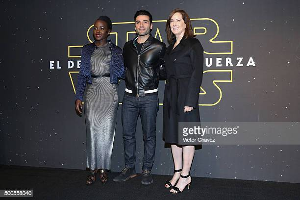 """Actress Lupita Nyong'o, actor Oscar Isaac and film producer Kathleen Kennedy attend the """"Star Wars: The Force Awakens"""" Mexico City premiere fan event..."""