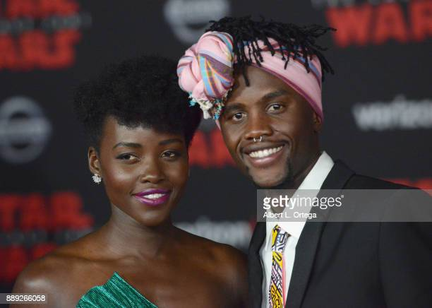 Actress Lupita Nyong'o and brother Peter Nyong'o arrive for the Premiere Of Disney Pictures And Lucasfilm's 'Star Wars The Last Jedi' held at The...