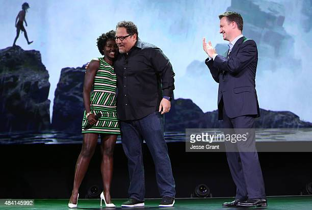 Actress Lupita Nyong'o and director Jon Favreau of THE JUNGLE BOOK and President of Walt Disney Studios Motion Picture Production Sean Bailey took...