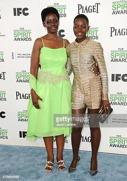 Actress Lupita Nyong'o and mother Dorothy Nyong'o attend the 2014 Film Independent Spirit Awards on March 1 2014 in Santa Monica California