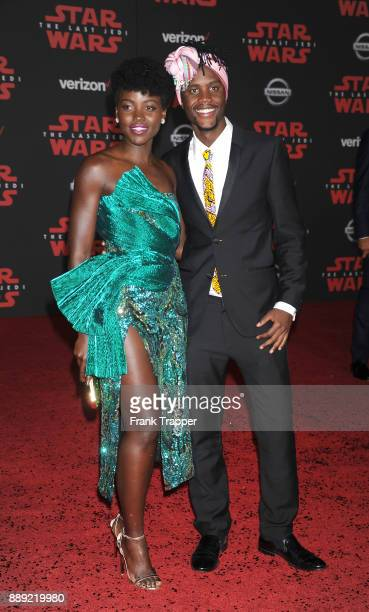 Actress Lupita Nyong'o and Peter Nyong'o attend the premiere of Disney Pictures and Lucasfilm's 'Star Wars The Last Jedi' held at The Shrine...