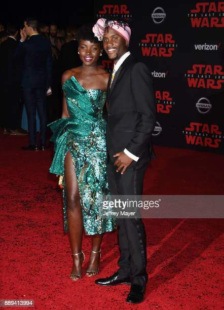 Actress Lupita Nyong'o and Peter Nyong'o attend the premiere of Disney Pictures and Lucasfilm's 'Star Wars The Last Jedi' at The Shrine Auditorium on...