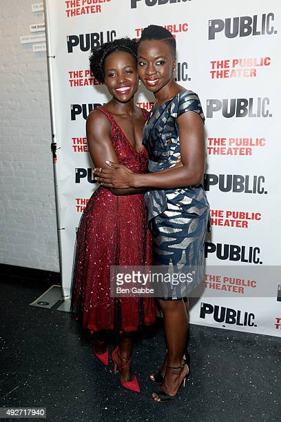 Actress Lupita Nyong'o and playwright Danai Gurira attend 'Eclipsed' Opening Night at The Public Theater on October 14 2015 in New York City