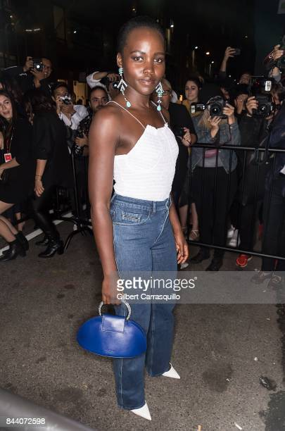 Actress Lupita Nyong'o arrives at Calvin Klein Collection fashion show during New York Fashion Week on September 7 2017 in New York City