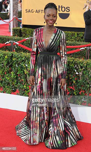 Actress Lupita Nyong'o arrives at the 21st Annual Screen Actors Guild Awards at The Shrine Auditorium on January 25 2015 in Los Angeles California