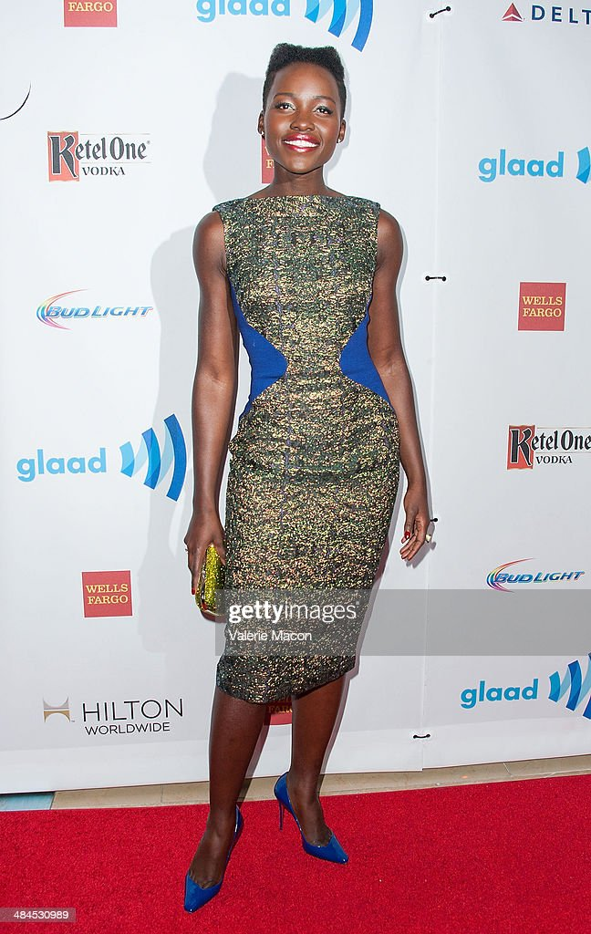 Actress Lupita Nyong'o arrives at the 25th Annual GLAAD Media Awards at The Beverly Hilton Hotel on April 12, 2014 in Beverly Hills, California.