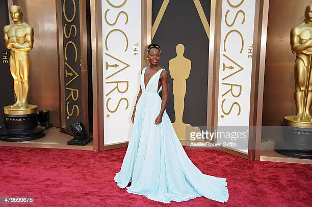 Actress Lupita Nyong'o arrives at the 86th Annual Academy Awards at Hollywood Highland Center on March 2 2014 in Hollywood California