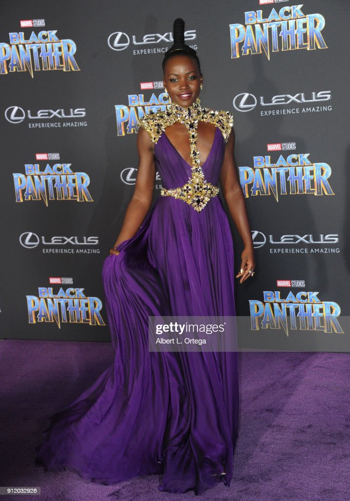 Actress Lupita Nyong'o arrives for the premiere of Disney and Marvel's 'Black Panther' held at Dolby Theatre on January 29, 2018 in Hollywood, California.