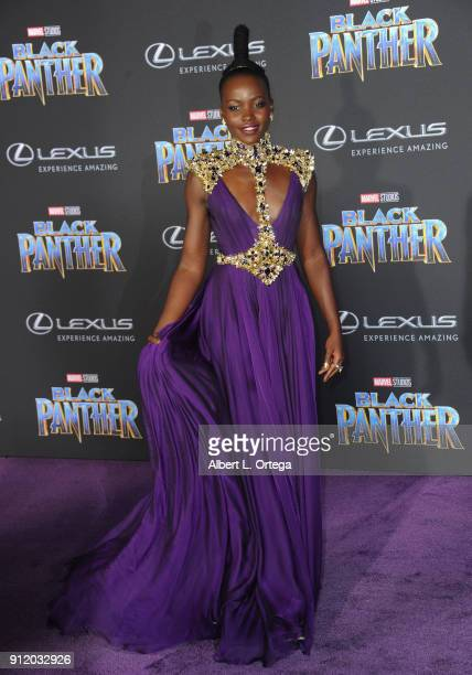 Actress Lupita Nyong'o arrives for the premiere of Disney and Marvel's 'Black Panther' held at Dolby Theatre on January 29 2018 in Hollywood...