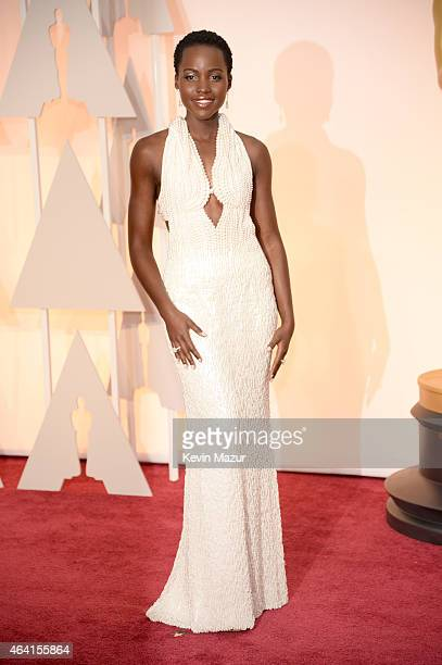 Actress Lupita Nyong'o arrives in Chopard to the 87th Annual Academy Awards at Hollywood Highland Center on February 22 2015 in Hollywood California