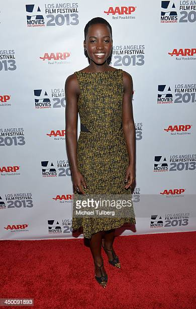Actress Lupita Nyong'o attends a screening of 12 Years A Slave at AARP's Movies For Grownups Film Festival 2013 at Regal Cinemas LA Live on November...