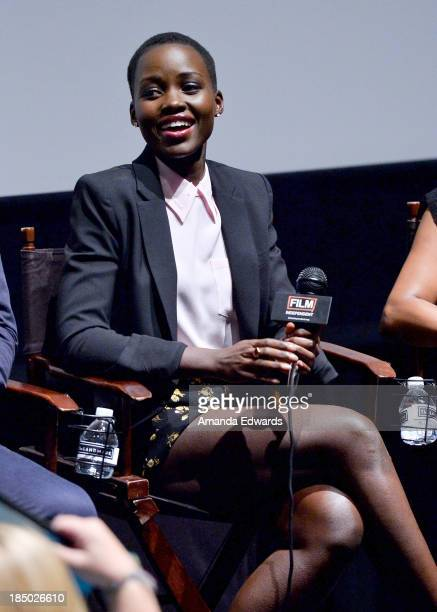 Actress Lupita Nyong'o attends Film Independent's Screening and QA of 12 Years A Slave at the Landmark Nuart Theatre on October 16 2013 in Los...
