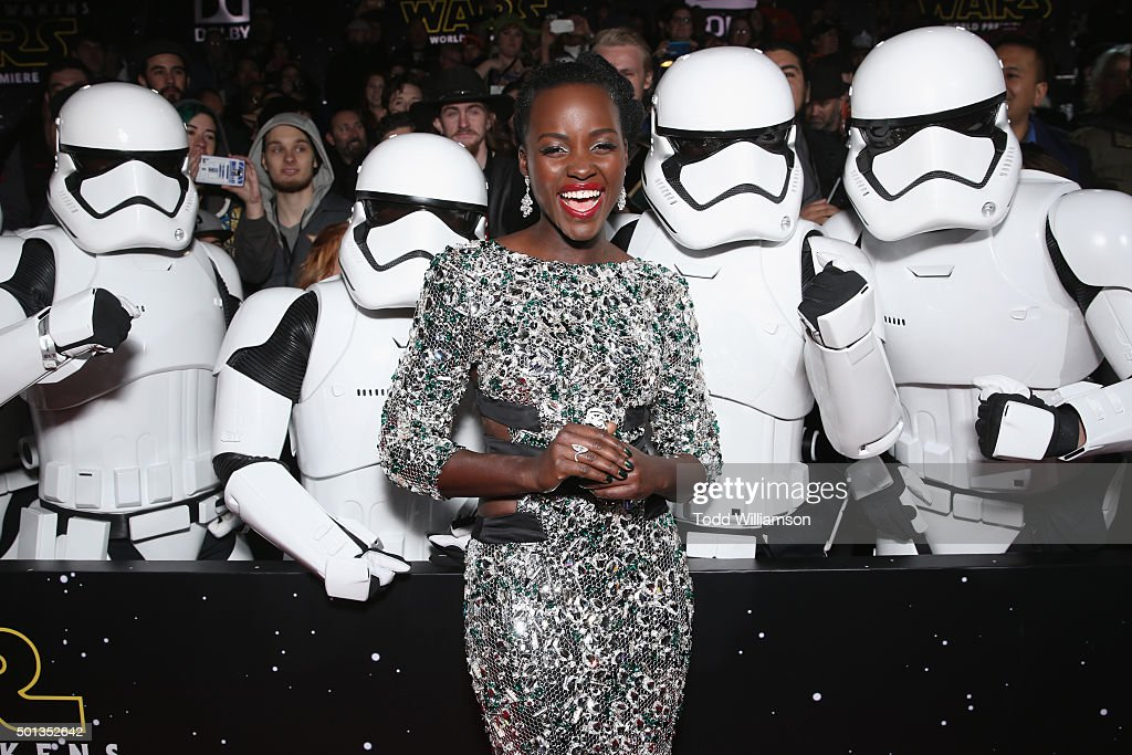 Actress Lupita Nyong'o attends Premiere of Walt Disney Pictures and Lucasfilm's 'Star Wars: The Force Awakens' on December 14, 2015 in Hollywood, California.