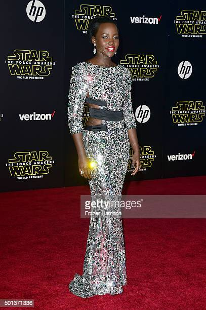 Actress Lupita Nyong'o attends Premiere of Walt Disney Pictures and Lucasfilm's Star Wars The Force Awakens on December 14 2015 in Hollywood...