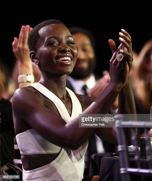 Actress Lupita Nyong'o attends the 19th Annual Critics' Choice Movie Awards at Barker Hangar on January 16 2014 in Santa Monica California