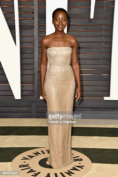 Actress Lupita Nyong'o attends the 2015 Vanity Fair Oscar Party hosted by Graydon Carter at Wallis Annenberg Center for the Performing Arts on...