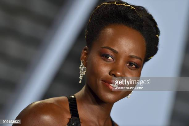 Actress Lupita Nyong'o attends the 2018 Vanity Fair Oscar Party hosted by Radhika Jones at Wallis Annenberg Center for the Performing Arts on March 4...