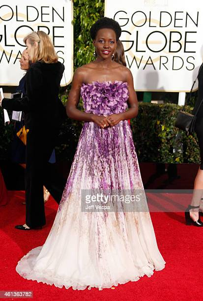 Actress Lupita Nyong'o attends the 72nd Annual Golden Globe Awards at The Beverly Hilton Hotel on January 11, 2015 in Beverly Hills, California.
