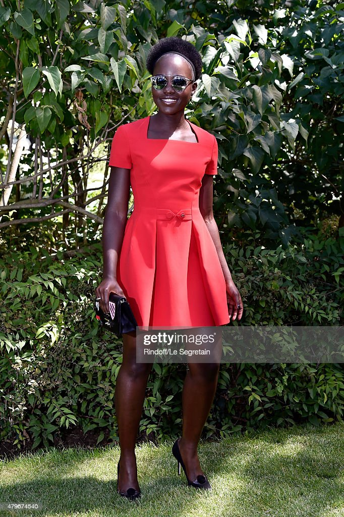Actress Lupita Nyong'o attends the Christian Dior show as part of Paris Fashion Week Haute Couture Fall/Winter 2015/2016 on July 6, 2015 in Paris, France.